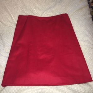 French Connection red, cashmere skirt.